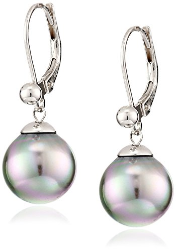 Majorica Sterling Silver and Gray Simulated Pearl Dangle Earrings