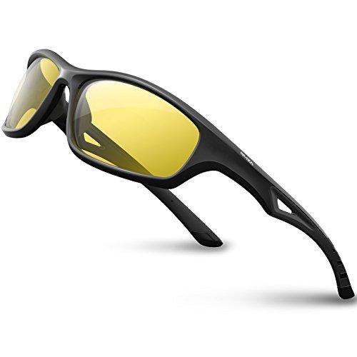 RIVBOS Polarized Sports Sunglasses Driving Glasses Shades for Men Women Tr90 Frame for Cycling Baseball Running 842 (Black, Night Version Lens)