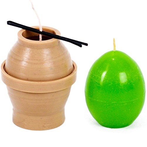 Candle mold in the form of eggs - height: 2 in, width: 1.6 in - 30 ft. of wick included as a gift - Plastic candle molds for making candles ()