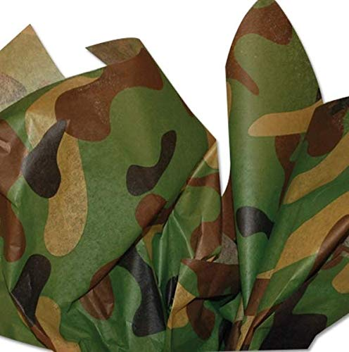 Camouflage Tissue Paper 20 Inch x 30 Inch Sheets Bulk Pack of 20