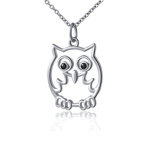 S925 Sterling Silver Animal Owl Jewelry Pendant Necklace for Girls Women 18 (Animal Sterling Silver Necklace)