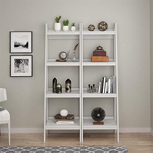 Ameriwood Home Lawrence 4 Shelf Ladder Bookcase Bundle, White