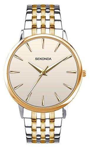 Watch Dial Cream Bracelet (Mens Sekonda Cream Dial Two Tone Stainless Steel Bracelet Watch 1339)