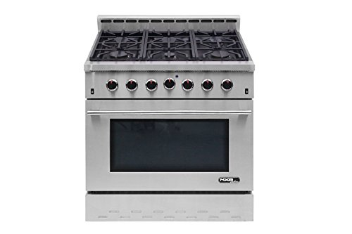 NXR NK3611 Entree 36'' 5.5 cu. ft. Professional Style Gas Range with Convection Oven, Stainless Steel by NXR