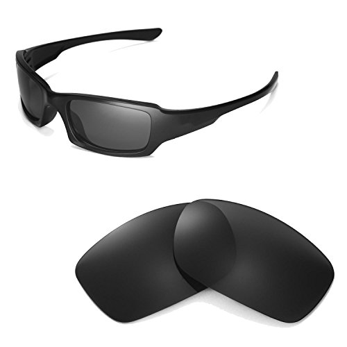 Walleva Polarized Black Replacement Lenses for Oakley Fives Squared Sunglasses (Lenses Fives Oakley Replacement)