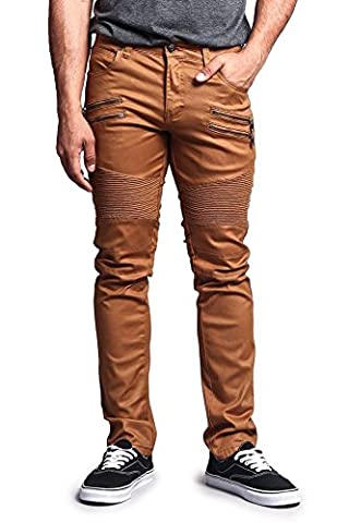 G-Style USA Men's Coated Biker Jeans Jeans - DL1030 - DARK WHEAT - 40/32 - DNM (Relaxed Fit In Los Angeles Dark)