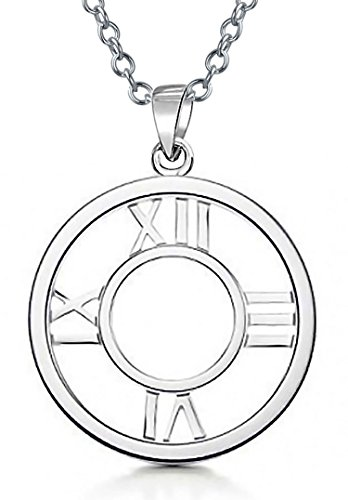 Dangling Silver Clock - Open Face Roman Numerals Circle Clock Pendant Sterling Silver Necklace 18 Inches