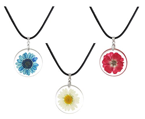 JGFinds Dried Flower Necklace 3 Pack, Resin and Cowhide - Actual - Flower Resin Necklace