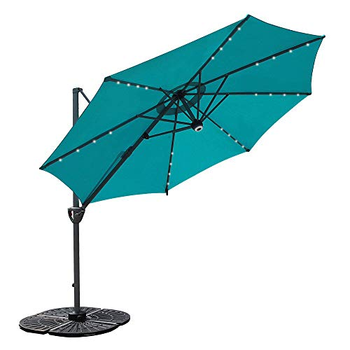 COBANA 10' Offset Patio Umbrella with Solar Powered 32LED and Blue-Tooth Speaker and 360 Degree Rotation Pole, Blue Review