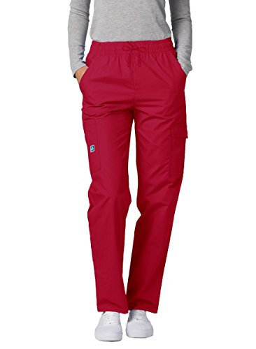 Adar Universal Natural-Rise Multipocket Cargo Tapered Leg Pants - 506 - Red - S (Iguana Pants Scrub Women)
