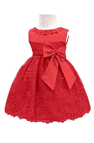 H.X Baby Girl's Newborn Bowknot Gauze Christening Baptism Dress Infant Flower Girls Wedding Dresses 8 Color (3M/0-5 Months, Red)