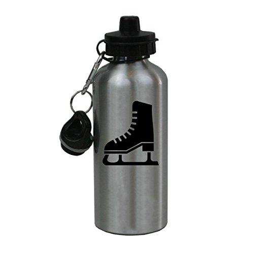 Personalized Custom Ice Skates, Hockey, Figure Skating Aluminum Silver Finish 20 Ounce Water Bottle Customizable ()
