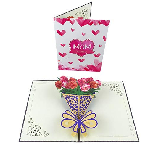 Mothers Day Flower Card,Pop Up Happy Mother's Day Cards,3D Milkshake Flower Card Handmade Greeting Birthday Cards for Mom with Envelope and Glue ()