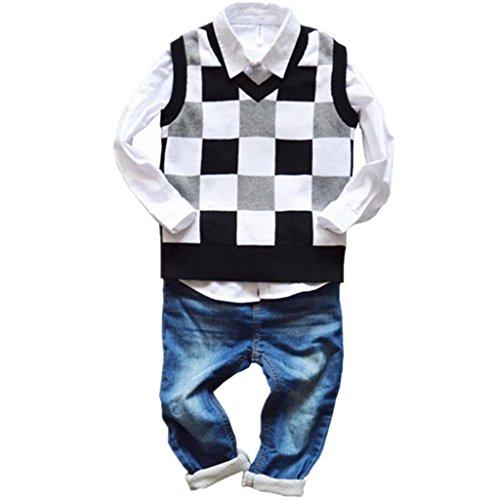 DaySeventh Toddler Children Boys Vest Kid Preppy Style Sweater Knit Thicken Vest Waistcoat Vintage (4T(Lable Size 7), - Vintage Preppy