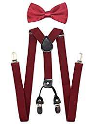 JAIFEI Men's 4 Clips Suspenders and Pre Tied Bow Tie Set for Tuxedo Wedding (Solid Burgundy)