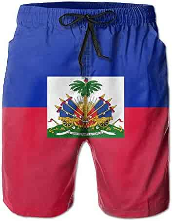 3e79a46077 Flag of Haiti Men's Beach Shorts Casual Classic Printing Quick Dry Swim  Trunks with Pockets