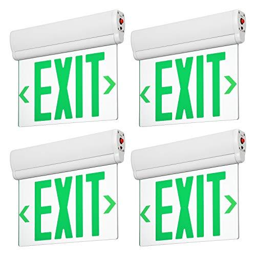 LEONLITE LED Edge Lit Green Exit Sign Single Face with Battery Backup, Rotating Panel, UL Listed, AC120V/277V, Ceiling/Left End/Back Mount Emergency Light for Hotel, Restaurant, Hospitals, Pack of 4