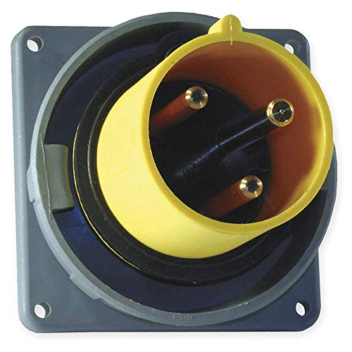 Pin Wiring Watertight (Hubbell Wiring Device-Kellems HBL3100B4W IEC Nylon Watertight Pin and Sleeve Inlet Yellow 100A 125V)