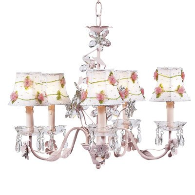 Jubilee Collection 7306-2075 5 Arm Crystal Flower Pink Chandelier with White/Pink Net Flower Shade Arm White Flower Crystal Chandelier