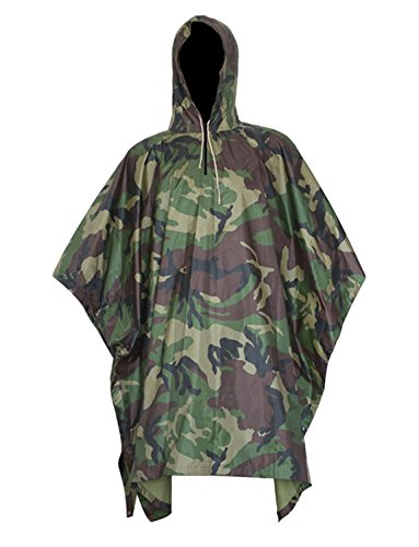 Unisex Militray Waterproof Raincoat Multi-Functional Rain Poncho, Hooded Ripstop Festival Rain Poncho Camouflage Raincoat for Hunting Camping and Outdoor Activities Jungle Camo One Size