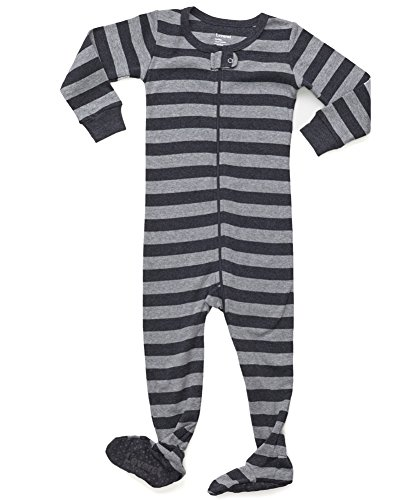 Yellow Footed Sleeper Pajamas - Leveret Kids Striped Baby Boys Footed Pajamas Sleeper 100% Cotton (Size 12-18 Months, Light Grey & Dark Grey)