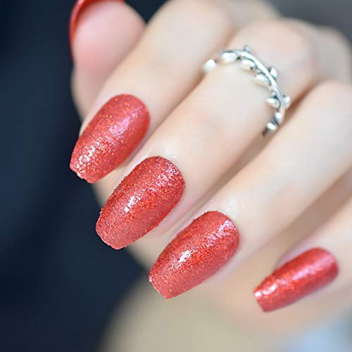 CoolNail Sexy Red Fake Coffin Ballerina False Nails Tips with Glitter Powder Dust UV Gel Polish Decor Acrylic Summer Salon Nail Tips -