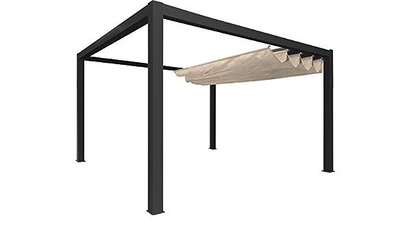 Pérgola independiente clásica de lona y aluminio – 4 x 3 m ...