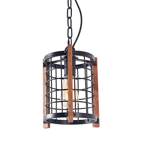 Giluta Metal Cage Pendant Light Rustic Round Chandelier Foyer Hanging Lamp Ceiling Light Fixture 1-Light for Kitchen Island Dining Room Entryway (P0023)