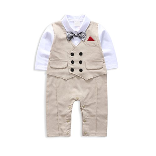 Baby Boy Suit, Toddler Short Sleeve Rompers Infant Outfit Onesie with Bow tie (95(18-24 Month), ecru) (Outfit Tie)