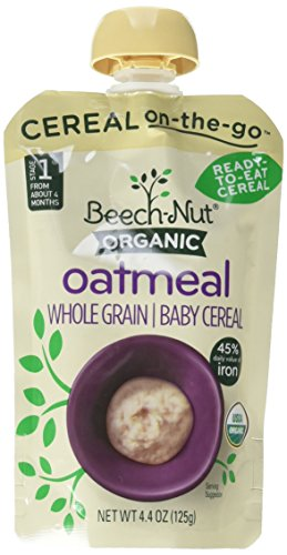 Beech-Nut Organic Oatmeal Ready-to-Eat Baby Cereal, 4.4 Ounce (Pack of 6)