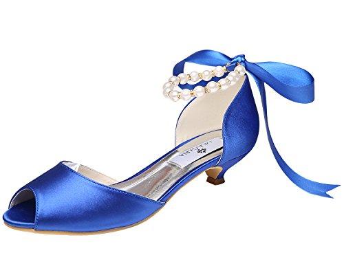 ab38b949838 M Mulgaria Femmes Pompes Peep Toe Talon Bas Perles Ruban Strass Satin  Chaussures De Bal De