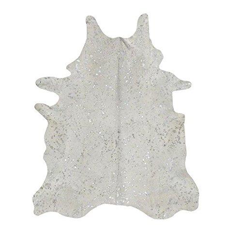 Mit Säure Bearbeiteter Kuhfellteppich - Pearl/Silber Acid Burnt Cow Skin Rug - Pearl/Silver Tapis Peau de Vache Brûlé à l'Acide - Pearl/Argent (205 cm x 200 cm)
