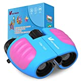 8×21 Compact Binoculars for Kids,Best Binoculars with High Resolution Real Optics, Adjustable Focus Dial and Break-Away Child-Safe Lanyard for Bird Watching,Camping and Hunting (Blue/Pink)