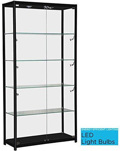 Black Aluminum Framed Showcase - Display Case Complete with LED Lights - Adjustable Shelves (Lights Framed Box)