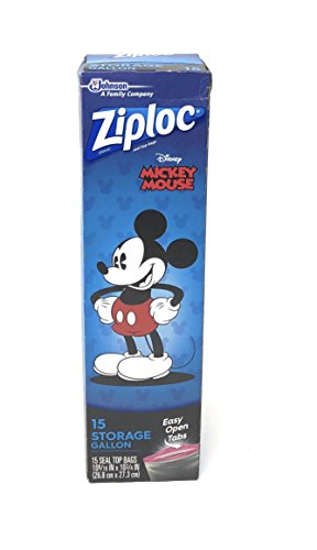 Ziploc Disney Mickey Mouse Storage Gallon Bags ~ 15 Count