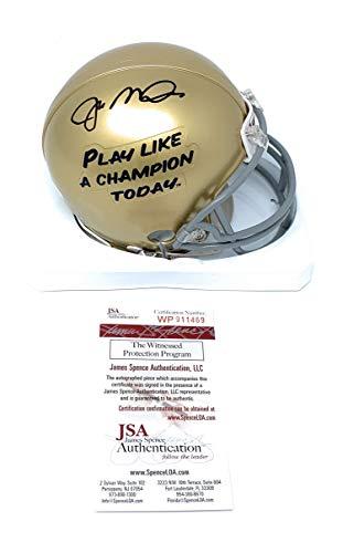 (Joe Montana Notre Dame Fighting Irish Signed Autograph Play Like A Champ Mini Helmet JSA Witnessed)