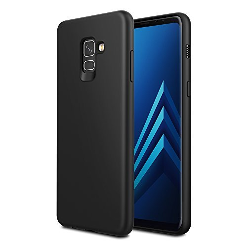 EasyAcc Case for Samsung Galaxy A8 Plus 2018, Thin Fit Slim Soft TPU Protective Cover with Matte Finish Back Protective Case Compatible with Samsung Galaxy A8 Plus 2018 Case - Black