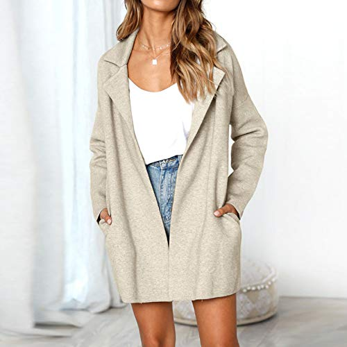 ❤ Abrigo Corto de Mujer, Solid Turndown Collar Long Sleeve Jacket Long Coat Absolute: Amazon.es: Ropa y accesorios