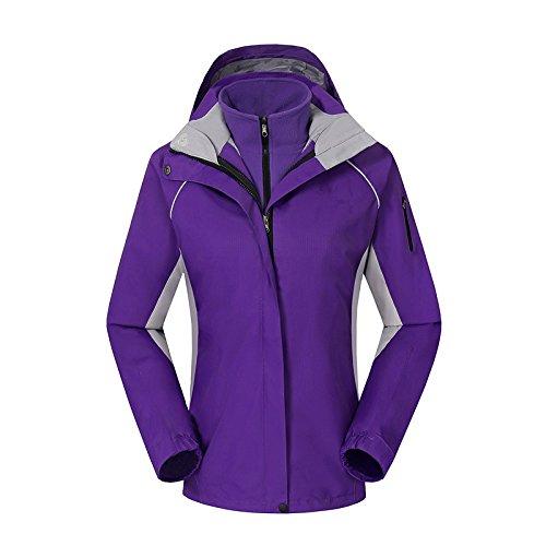 HUA&X Untar la mujer chaqueta impermeable de Esquí paraviento cremallera cálida piscina ,púrpura,XXL