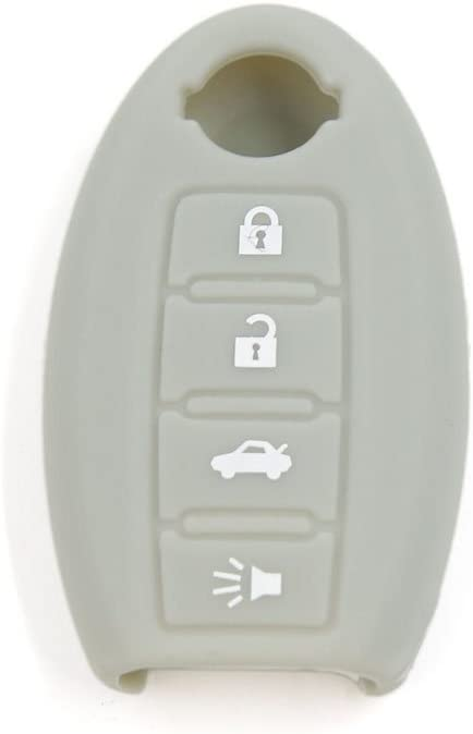 Gray 4 Buttons Silicone Remote Key Cover Fob Case Protective fit for Nissan