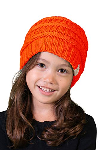 Wool Cashmere Girls - Funky Junque H-3847-56 Girls & Boys Knit Hat Kids Beanie (NO POM) - Neon Orange