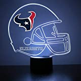 Mirror Magic Store Houston Texans Football Helmet LED Night Light with Free Personalization - Night Lamp - Table Lamp - Featuring Licensed Decal