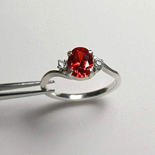 Mexican Fire Opal Sterling Silver Ring with Diamond Accents