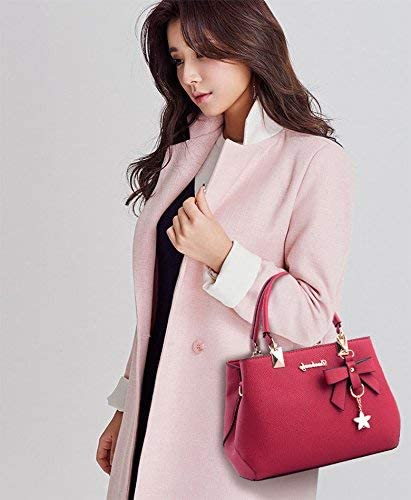 Fanspack Womens Handbags Leisure Top Handle Bag Shoulder Bag Purses and Handbags with Butterfly Knot Pendant