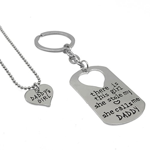Silver Little Heart (Fun Daisy Daddy's Girl Little Heart Necklace and Dog Tag Keychain Set , There's This Girl Who Stole My Heart She Calls)