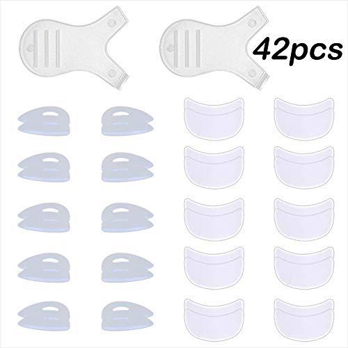 Silicone Eyelash Perming Curler Shield Pads Kit - MeiMeiDa 10 Pair 5 Sizes SS S M L LL Eyelash Perm Silicone Pad & 10 Pairs Under Eyelash Pad for Perm & 2 PCS Lash Y Brushes, Lash Lift Rods Tool Set (10 Best Eye Curler)