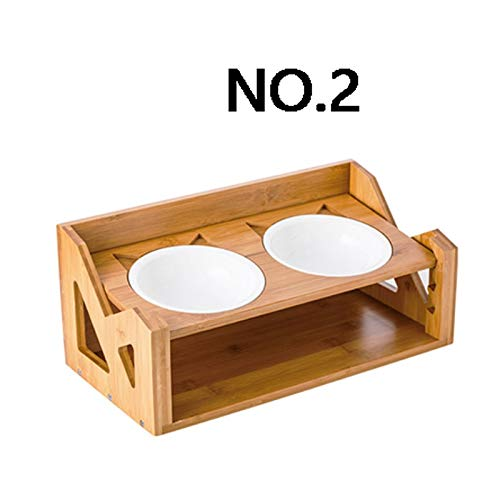 No.2 Adjustable Height pet Bowl, Ceramic, Wood, Double Bowl Durable, Suitable for All Kinds of Home Style, can be Used for Four Seasons (Two Styles) pet Household Items (color   NO.2)