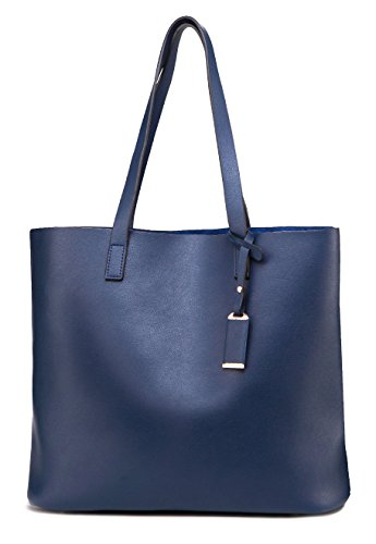(ilishop PU Leather Handbag Designer Pure Color Pures, Large Capacity Shoulder Bag, Classical Tote Bags (Blue))