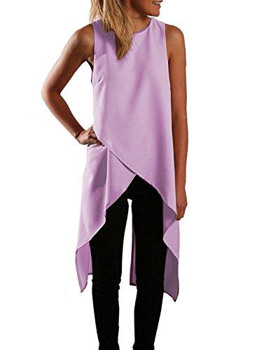 Relipop Women Chiffon Sleeveless Casual Fashion Asymmetric Blouse Shirts Top (XX-Large, Purple)