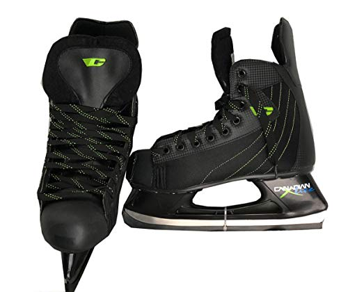 (Canadian X-Lite Men's Ice Hockey Skates - Stainless Steel Blades, Padded Felt Tongue (Black/Green, 12.0))